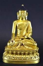A Magnificent Gilt Bronze Seated Figure of the Medicine