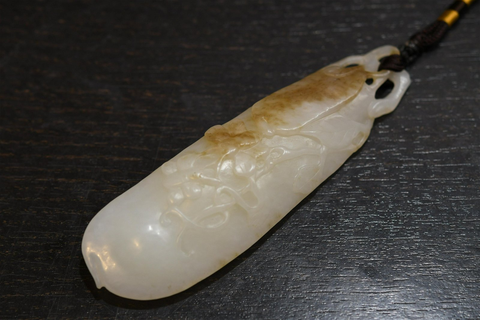 Carved white Jade Fruit Form Pendant