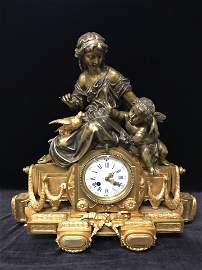Antique Gilt Bronze French Mantle Clock