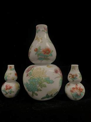 3 Piece Porcelain Floral Vase Set