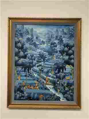 Framed Blue Jungle Paintng
