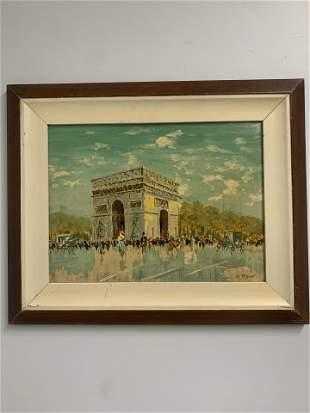 Framed oil Canvas of People Walking by Arc de Triomphe