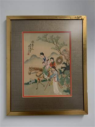 Framed Asian painting of Women Riding Horses