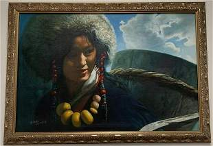 Framed Oil on Canvas Painting of Native Girl