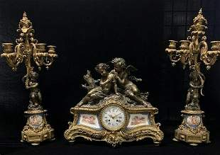 French 19th Century Gilt Bronze Clock set with Severs