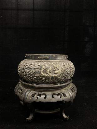 Silver Bowl with Ingravings of People