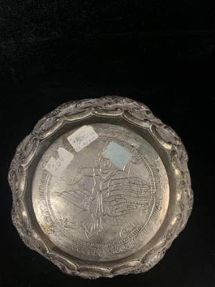 Silver Plate with Ingraving of Person