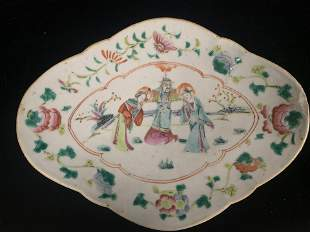 Footed Chinese Plate Depicting 3 People