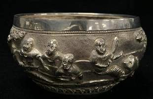 Sterling Silver Bowl with Faces