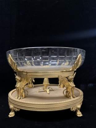 Gilt Bronze and Crystal Bowl/ CenterPiece