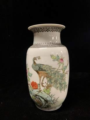 Chinese Famille Rose Porcelain Peacock Vase