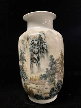 Chinese Famille Rose Porcelain Landscape Vase