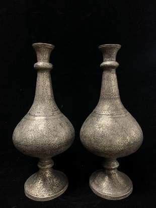 Pair of Silver Vases