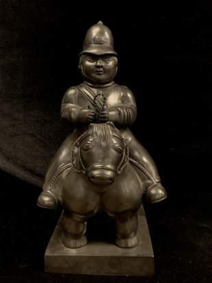 Bronze Statue of a Horse Rider signed Botero