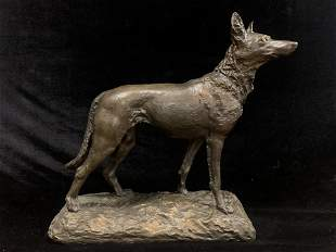 Bronze Statue of a Dog signed Marquet
