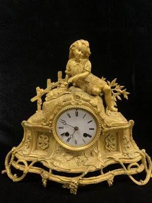 19th Century French Gilt Bronze Clock of Boy and Lamb