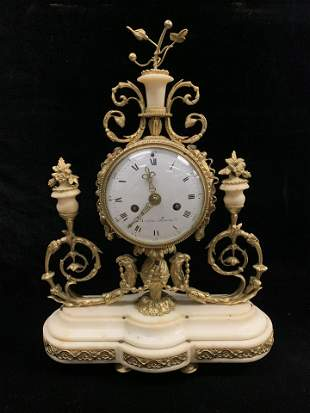 19th Century French Gilt Bronze and Marble Clock