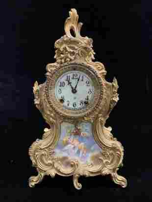19th Century French Gilt Bronze Cherub Clock