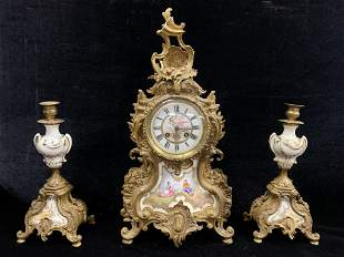19th Century French Gilt Bronze and Porcelain Clock and