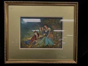 Persian Framed Print of Man and Woman Playing