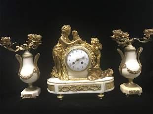 Antique 19th C. Gilt Bronze French Mantel Clock Set