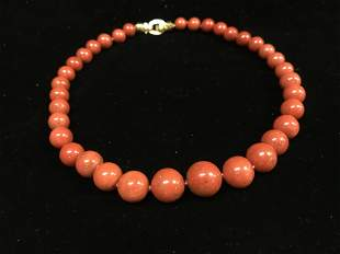 CORAL, GOLD AND DIAMONDS LADIES NECKLACE