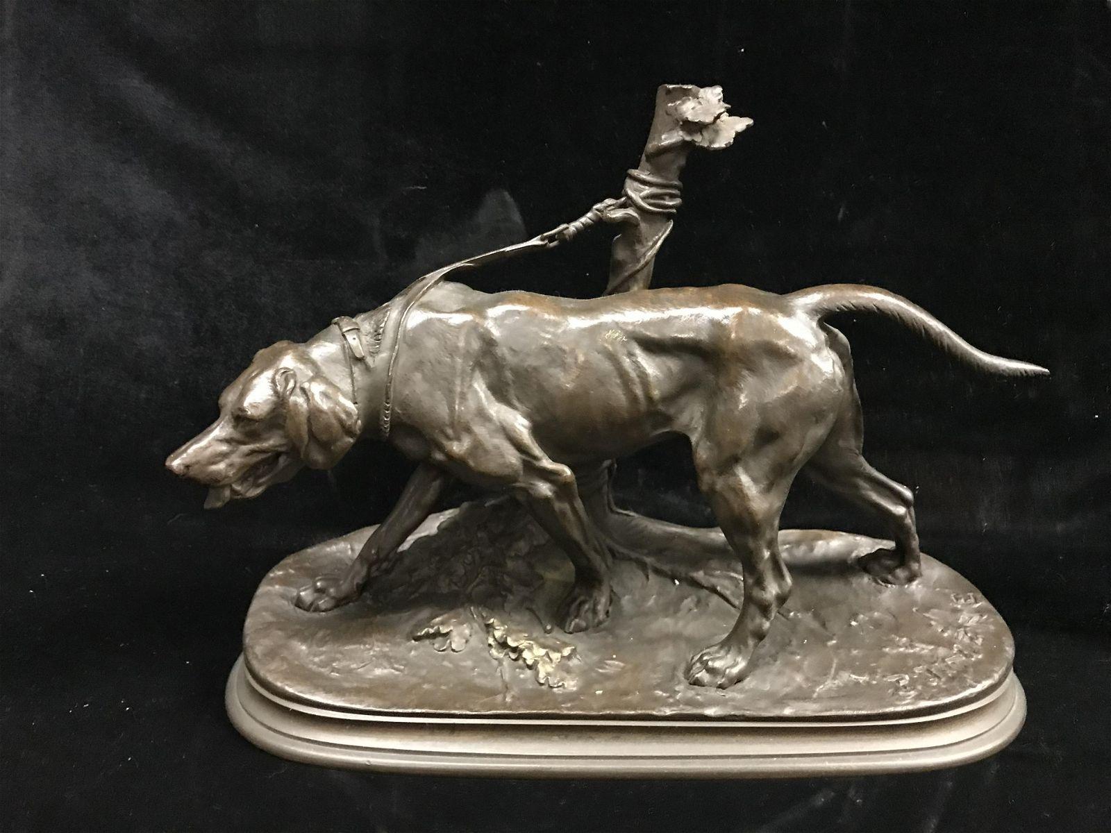 ANTIQUE BRONZE statue of a DOG SIGNED MENNE