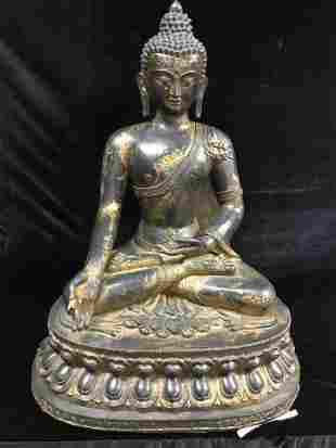 LARGE ANTIQUE 19th C. BRONZE SEATED BUDDHA