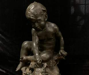 Antique 19th C Bronze French STATUE SEATED CHILD SIGNED