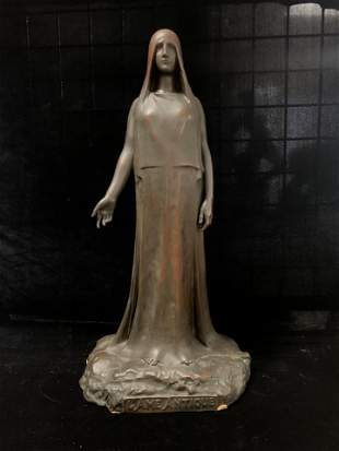 Antique 19th C Bronze French STATUE STANDING LADY