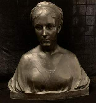 Antique 19th C Bronze French STATUE LADY'S BUST SIGNED