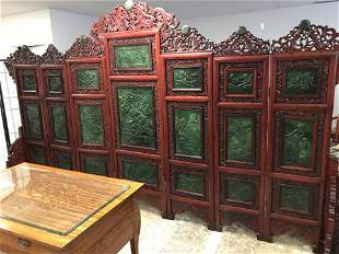 MAGNIFICENT LARGE CHINESE SPINACH JADE/HARDWOOD SCREEN