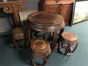 Antique Hardwood Chinese Circular Tea Table FIVE Stools