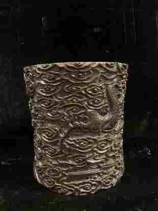 Chinese Carved Dragon Hardwood Brush Pot