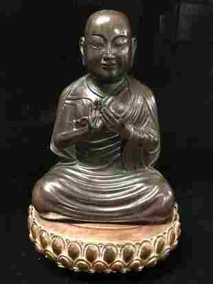 Antique Chinese Carved Chien Xian Wood Seated Buddha