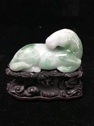 Chinese Beautifully Carved Apple Green Jadeite Ram