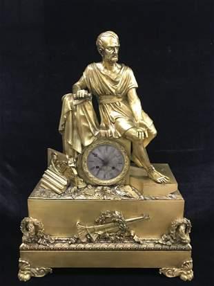 Antique 19th C. French Gilt Bronze Mantel Clock