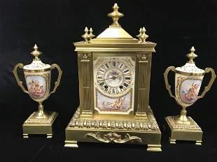 Antique 19th C. French Gilt Bronze Mantel Clock Set