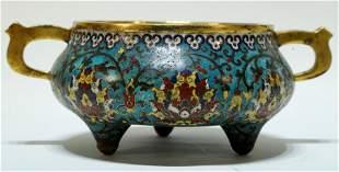 A Rare Cloisonne Flowery Tripod Vase