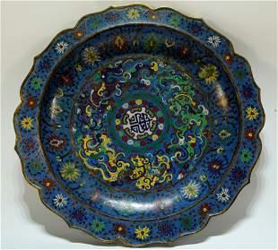 A Rare Cloisonne Flowery Plate