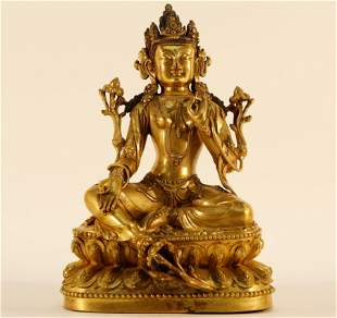 An Exquisite Gilt Bronze Sitting Guanyin