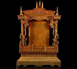 A Magnificent Gilt Bronze LotusFlower Dragon Buddha's