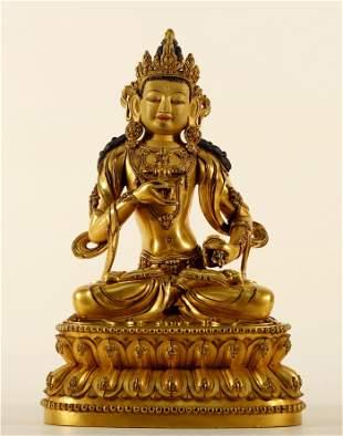 An Elegant and Exquisite Gilt Bronze Tibetan Guanyin