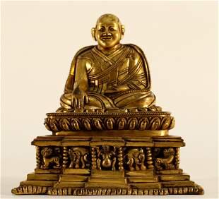An Exquisite Gilt Bronze Guru Rinpochie