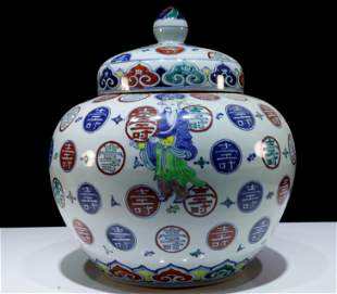 Chinese Ming Dynasty Large Rare Doucai 'Fragon' Jar and