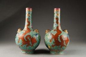 5: Pair of Turquoise Ground Dragon Vase