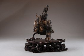 8: Bronze - Woman on a Donkey & Base