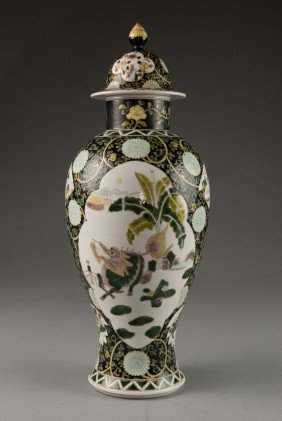24: Black Background Vase & Cover