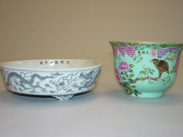 31: One Blue & White Dish & Green Bowl