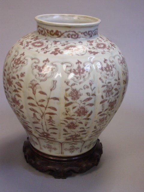 36: Copper Red Vase & Wood Base
